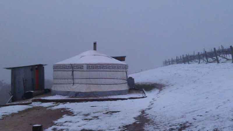 mongolian yurt snow