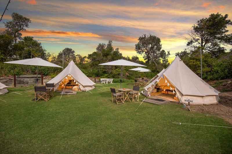 Outside tents