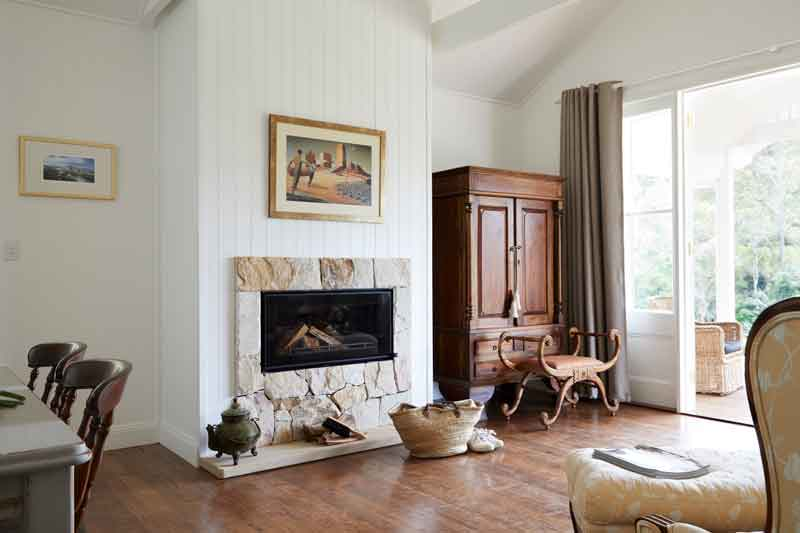 Rose Gums Eco Luxe Byron bay Cottage Fireplace