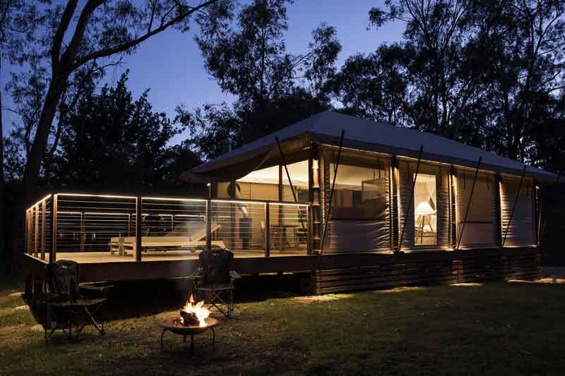Glamping NSW Turon Gates night view