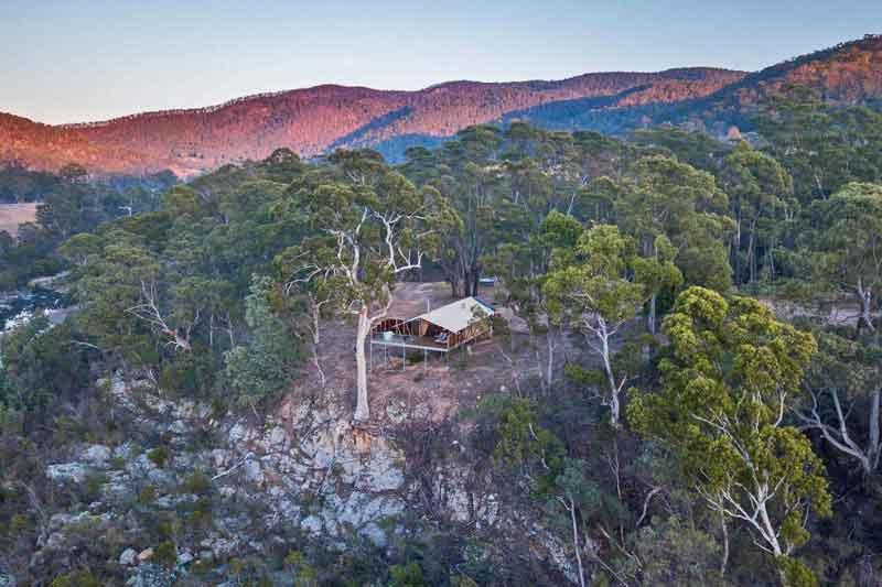 Glamping safari tent clifftop