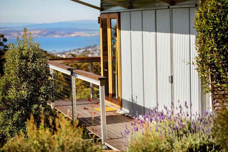 Hobart Hideaway Pods deck and view