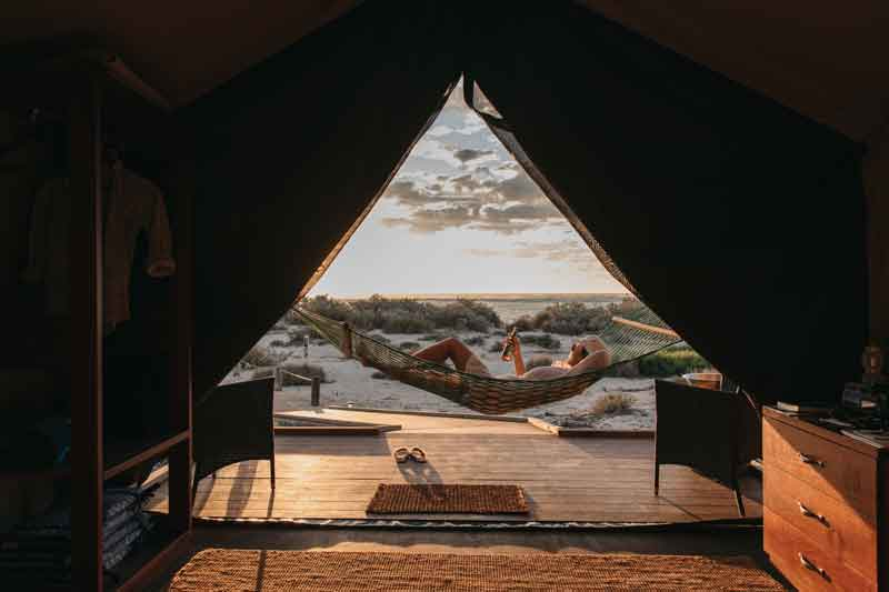 Sal Salis interior tent with view