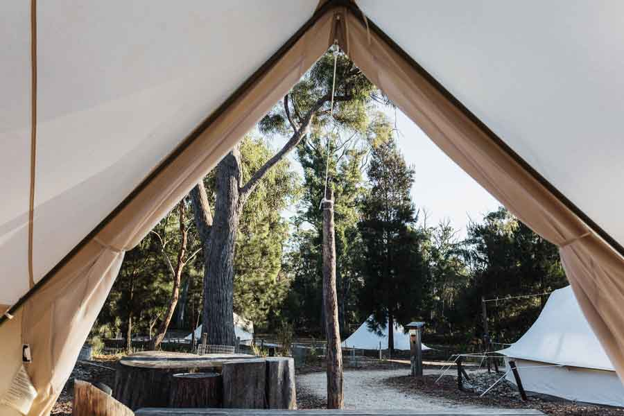 Bay-of-Fires-Bush-Retreats-Bell-Tents view